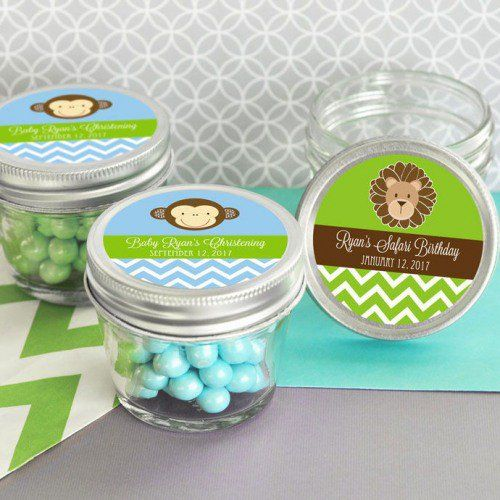 Pretty and petite personalized baby shower 4 oz. mason jars allow you to gift guests with a tasty, sweet, and fun treat.