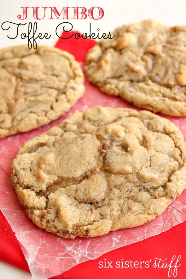 Jumbo Toffee Cookies on SixSistersStuff.com
