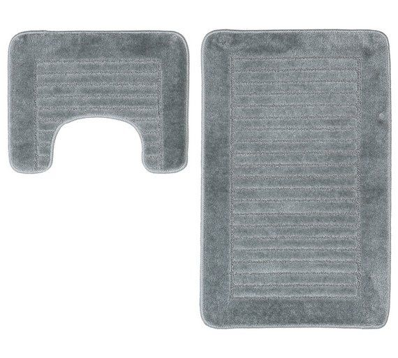 Buy HOME Striped Bath and Pedestal Mat Set - Grey at Argos.co.uk, visit Argos.co.uk to shop online for Bath mats, Bathroom accessories, Home furnishings, Home and garden