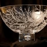 """Leavenworth, Washington artist Teri Zimmerman crafted this beautiful etched glass bowl with pine limbs, entitled """"Branches"""", for the Leavenworth Empty Bowls Artist Bowl Auction.  Proceeds benefit the Community Cupboard food bank in Leavenworth."""