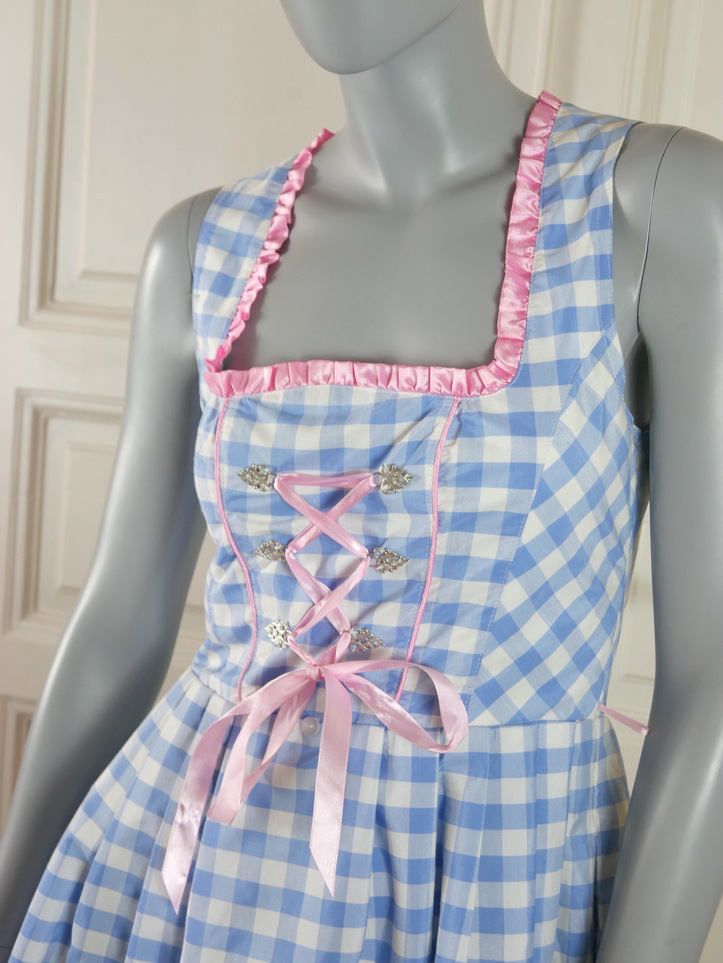Dirndl Dress, Blue White Checked Traditional Bavarian Trachten Dress w Pink Edging, Lightweight Cotton-Blend Dirndl: Size 8 US, Size 12 UK by YouLookAmazing on Etsy