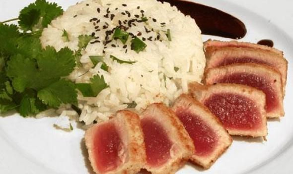 Panko Crusted Ahi Tuna with Coconut-Cilantro Rice recipe picture. Not sure i should let this one get around!!!