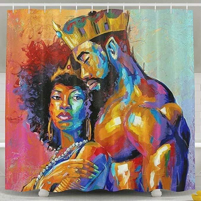 Romantic Afro Black King With Queen Shower Curtain Bathroom Decor Black Artwork Black Art Pictures Black Love Art