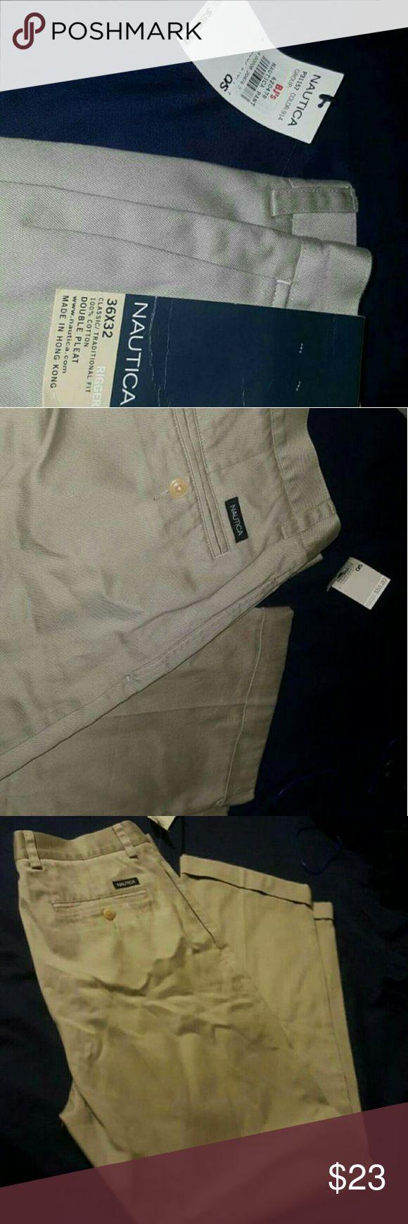 Men's Nautica dress slacks double pleated 36?32 New Nautica Pants Chinos & Khakis
