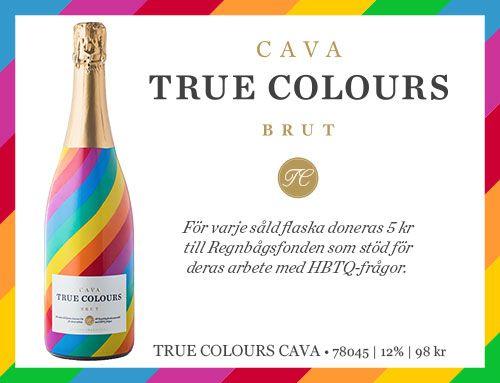 True Colours Brut - i en flaska i regnbågsfärger och ett innehåll som har frisk fruktighet av citrus, mineral och röda äpplen med viss nötighet i eftersmaken. Det passar utmärkt som aperitif, skaldjursrätter och till varma och kalla förrätter. Det är också gott till fräscha desserter.