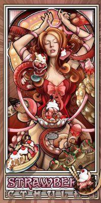 """Strawberry Ice Cream Cthulhu"" 12x24 Archival Print:"