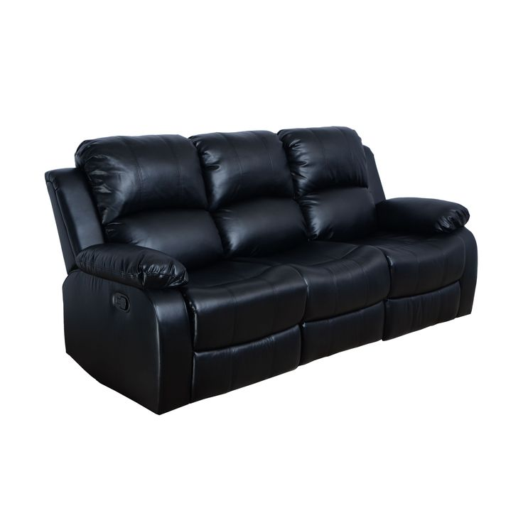 odessa black bonded leather reclining sofa black - Black Leather Recliner