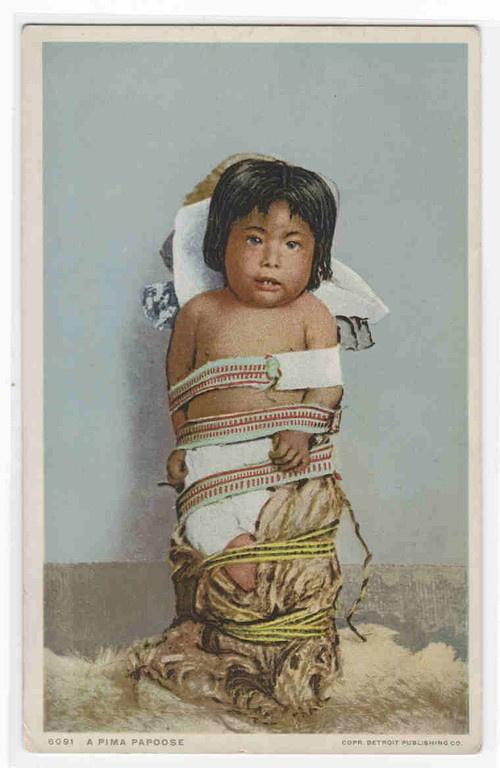 a11beaaebee Pima Native American Indian Papoose Baby 1910c Phostint postcard ...