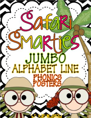 """Safari Smarties JUMBO Alphabet Line: A Phonics Poster Set from Tangled Up In Teaching on TeachersNotebook.com -  (28 pages)  - The Safari Smarties JUMBO Alphabet Line is a safari themed alphabet bulletin board set. This phonics set allows you to have an alphabet line that matches your classroom theme! Each letter card measures approximately 7.5"""" x 9.75"""""""