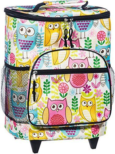 Attractive Insulated Rolling Cooler Bag with Telescoping Handle 16-inch 21-quart Wheeled Cooler (Fun Colored Owls)