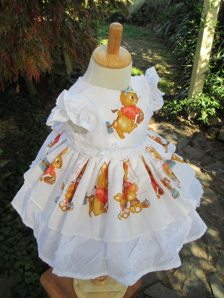 Bunny dress, size 1, hand-sewn, exquisite design, Easter bunny, one-of-a-kind, girl's dress, baby present, 1st Birthday dress, vintage style by LittleLarkClothing on Etsy