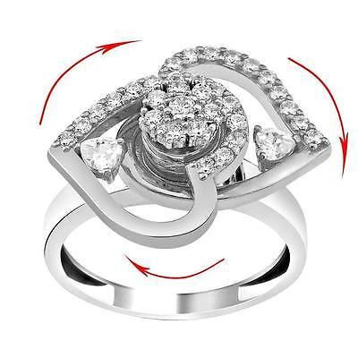 Motion Dancing silver ring, Eye catcher ring, Eyecatcher ring spinning heart