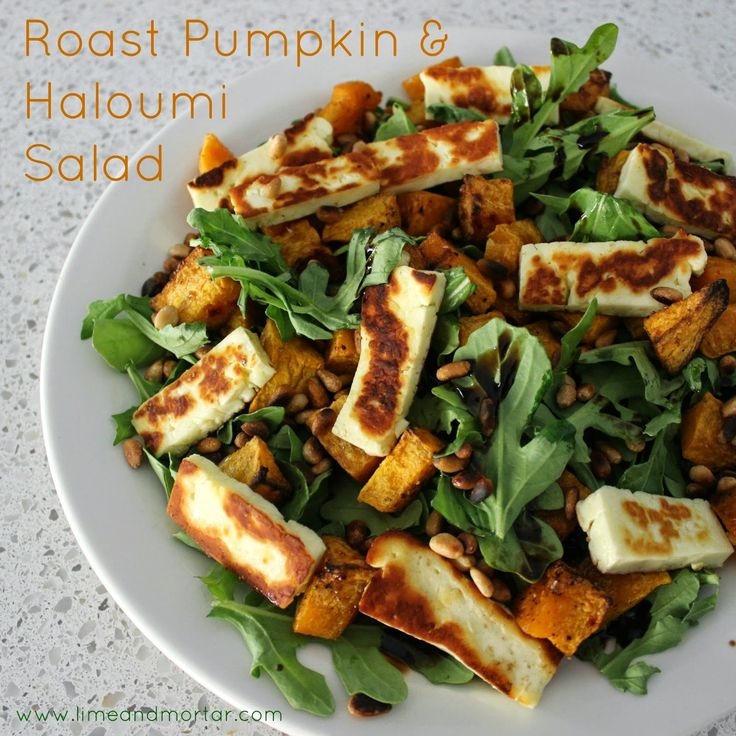 Roast pumpkin and haloumi salad