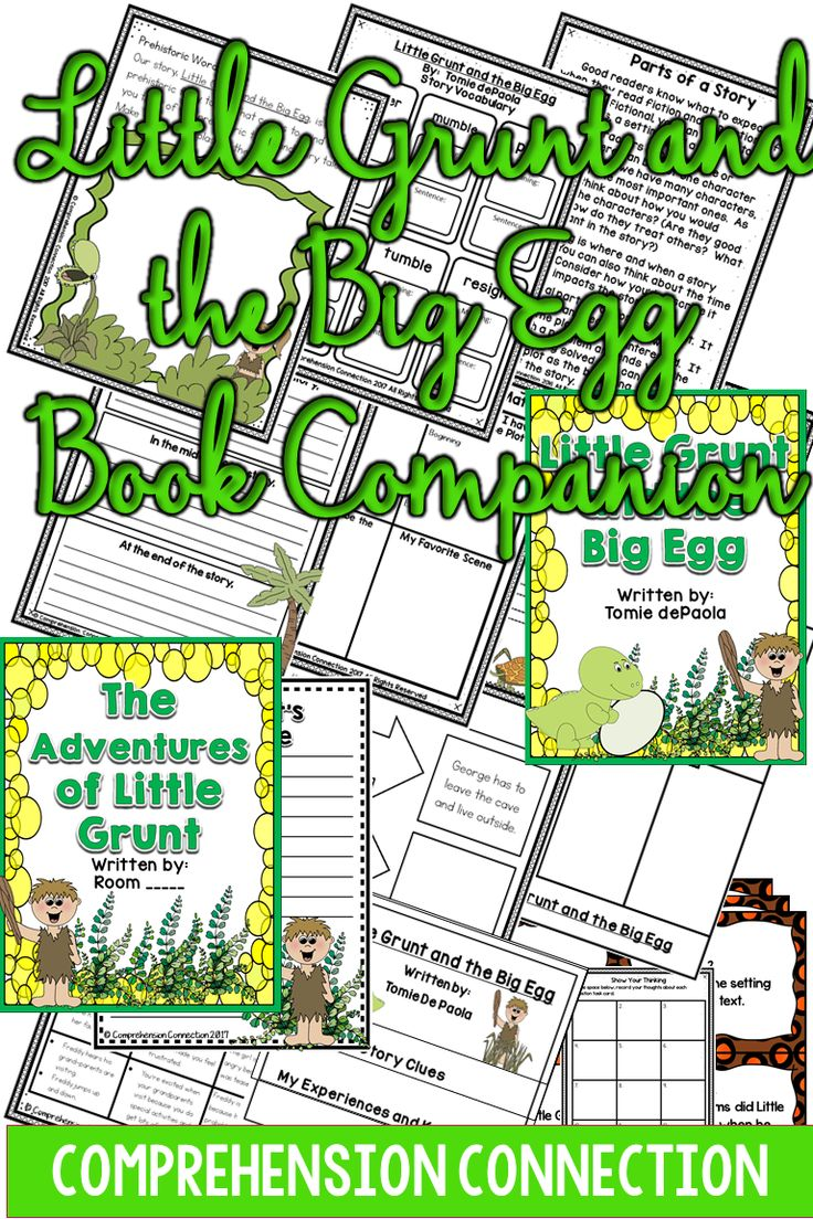 This  set of activities for Little Grunt and the Big Egg addresses many skills in a before/during/after format. The skills addressed within the unit include: Developing story schema and vocabulary Story elements including characters, setting, and plot (multiple pages) Cause and effect relationships (anchor chart, teaching organizer, and independent matchbox foldable) Making inferences,Questioning task cards, and Class book .