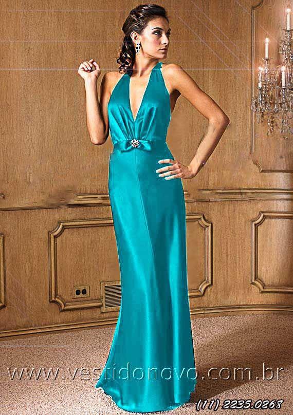 Vestido de festa longo azul serenity da LOJA VESTIDO NOVO, peça única,  primeiro aluguel 300b8aa219