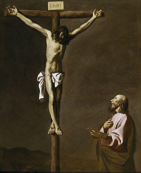 Saint Luke as a Painter before Christ on the Cross. Zurbarán. 1660. Oil on canvas, 105 x 84 cm. Museo del Prado. Madrid.