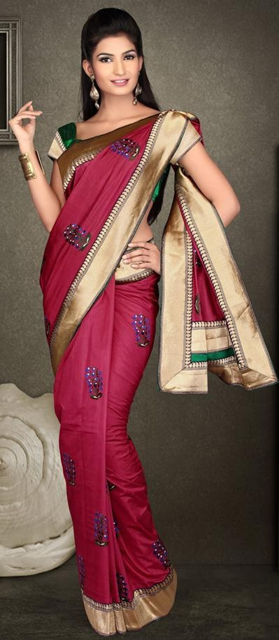 $75.15 Red Art Dhupion and Brocade Silk Saree 21809 With Unstitched Blouse