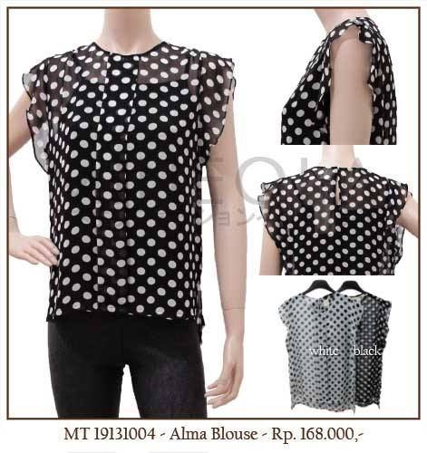 MINEOLA Alma Polkadot Blouse. Also available in white. Only Rp.168.000,- Bust: 72cm - Length: 85cm - Waist: 68cm - Sleeve: 18cm. Fabrics: Chiffon. Product code: MT19131004   #MINEOLA #myMINEOLA #iWearMINEOLA #Fashion #OnlineShop #Indonesia #Jakarta #Brand #Import #Dress #Blouse #Top #Pants #Skirt #TokoBajuOnline #BajuImport #IndonesiaOnlineShop #OnlineShopIndonesia #FashionOnlineShop