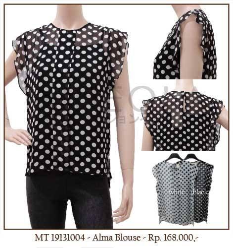 MINEOLA Alma Polkadot Blouse. Also available in white. Only Rp.168.000,- Bust: 72cm - Length: 85cm - Waist: 68cm - Sleeve: 18cm. Fabrics: Chiffon. Product code: MT19131004   #MINEOLA #myMINEOLA #iWearMINEOLA #Fashion #OnlineShop #Indonesia #Jakarta #Brand #Import #Dress #Blouse #Top #Pants #Skirt #TokoBajuOnline #BajuImport #IndonesiaOnlineShop #OnlineShopIndonesia #FashionOnlineShop