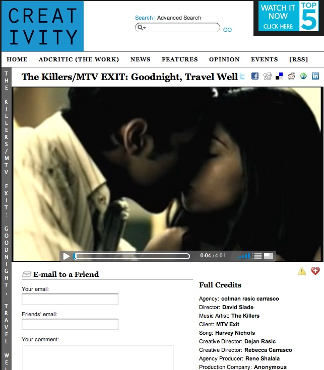 The Killers & MTV EXIT featured in Creativity.
