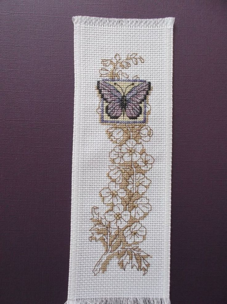 Completed Cross Stitch Bookmark -Purple Butterfly with white flowered background