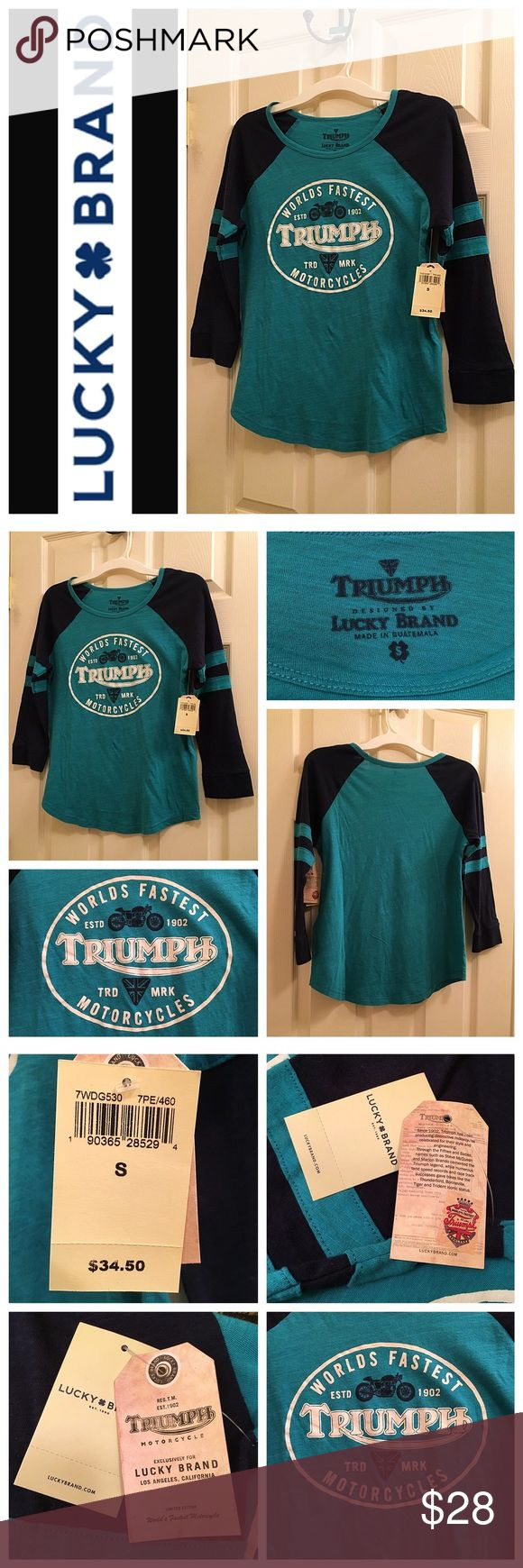 """Lucky Brand """"Triumph"""" Long Sleeve T-shirt When it comes to American icons, there's no better match than Triumph Motorcycle clothing and Lucky Brand apparel.   Heritage-inspired baseball tee created in collaboration with Triumph Motorcycles. Features a crew neck, three-quarter raglan sleeves and an iconic graphic at front. Lucky Brand Tops"""