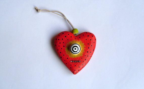 Wooden Heart Ornament - St. Valentine's Day Decor - Red Heart Ornament - The Bewitched Heart - Mixed Media - OOAK