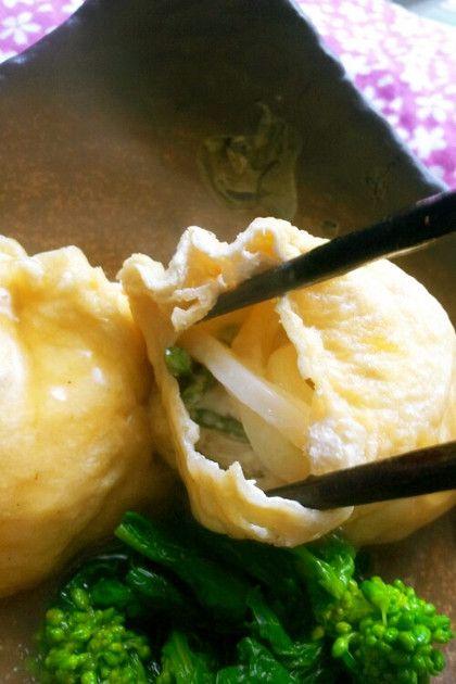 残り物には福がある!噛めばお汁がジュワーの、うどんきんちゃくです♪チーズと和風だし汁が合うーっ!