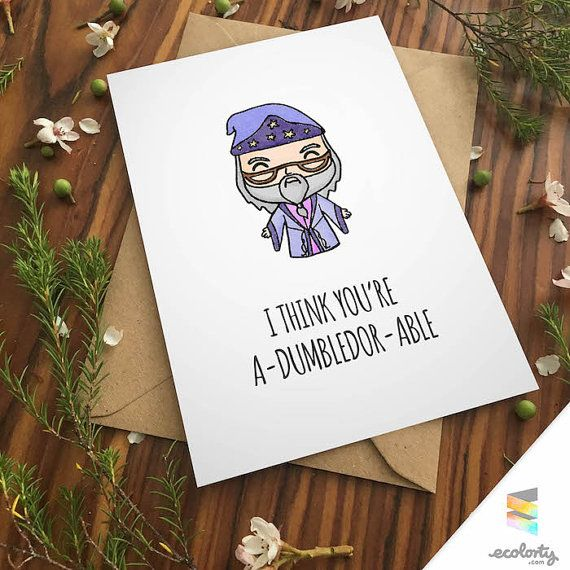 DUMBLEDORE LOVE CARD Harry Potter Greeting Card - Albus - Couple Geek - cute - anniversary - I love you - wizard - pun - magic - hogwarts