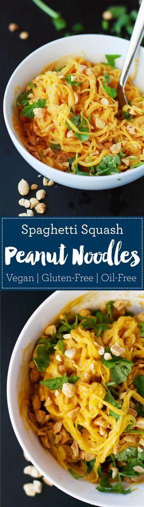 Spaghetti Squash Peanut Noodles | Vegan | Plant-based | WFPB | Gluten-free | Oil-Free | Recipe | http://www.eatwithinyourmeans.com/ via @eatwithinmeans