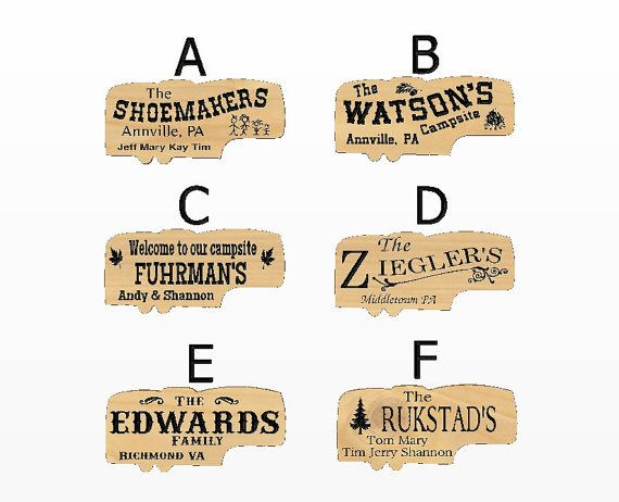 5th Wheel Camper Shape Sign Family Names Personalized Carved