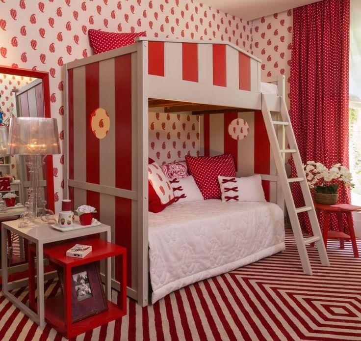projeto quarto de menina das camas vermelho e branco Zize Zink