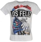 tshirt happiness in cotone bianco con stampa