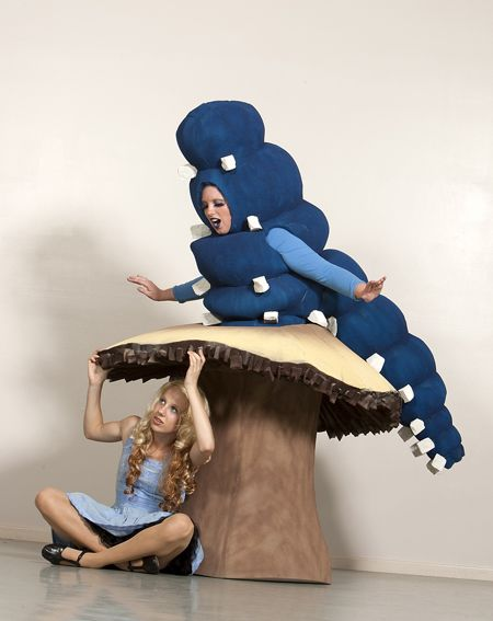 Similar to the other costume, it makes a sort of illusion, although in reality the person is half caterpillar half mushroom. This version shows how Alice can sit under or interact with the costume. We would have to use hard or durable materials to make this possible.