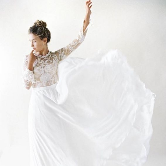 The Roxy Gown skirt is made of a sueded silk, and really comes to life with a bit of movement.Available at LoversLand www.loversland.com #ruedeseine #wedding #bridal #love #weddingdress