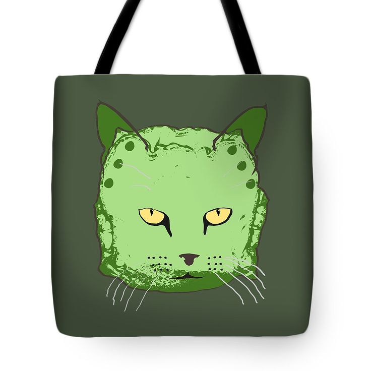 Cloth Diaper Cat In Green Tote Bag by Sverre Andreas Fekjan.  The tote bag is machine washable, available in three different sizes, and includes a black strap for easy carrying on your shoulder.  All totes are available for worldwide shipping and include a money-back guarantee.