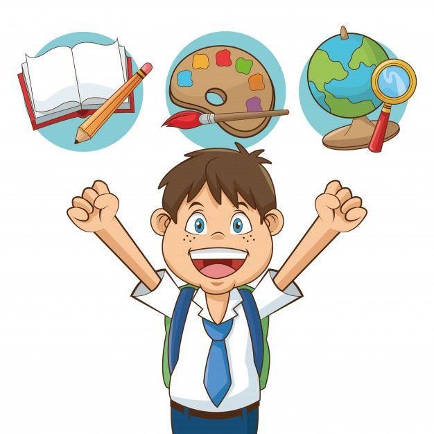 Nino Estudiante De Dibujos Animados Con Premium Vector Freepik Vector Escuela Estudiantes Dibujo Dibujos Animados Ninos