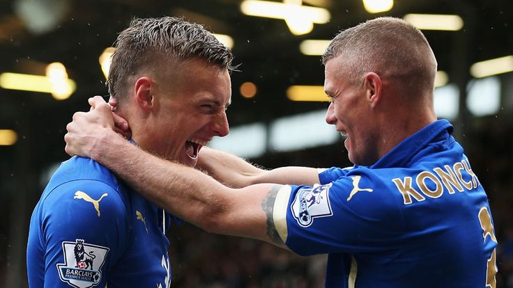April 25th. 2015: james Vardy celebrates a goal as Leicester beat Burnley in a crucial game at the bottom of the Premier League.