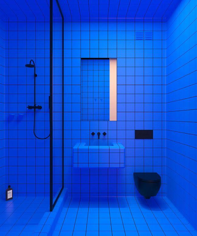 Blue Tile Bold Bathroom Electric Pop Cobalt Design