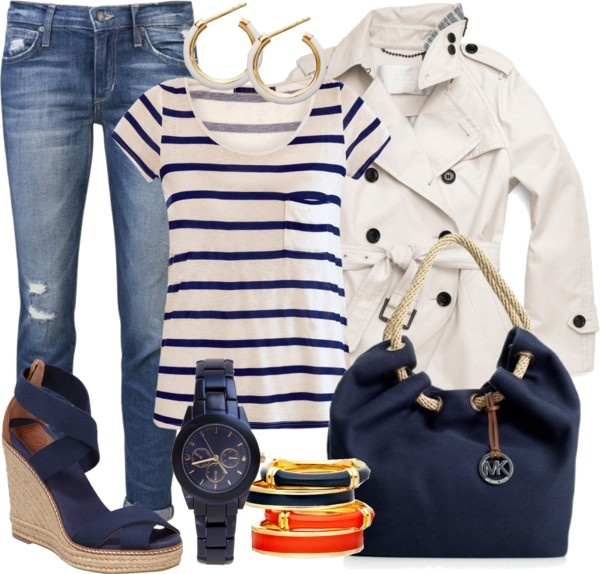 """Blue and White ~Marine Style~"" by gangdise ❤ liked on Polyvore"