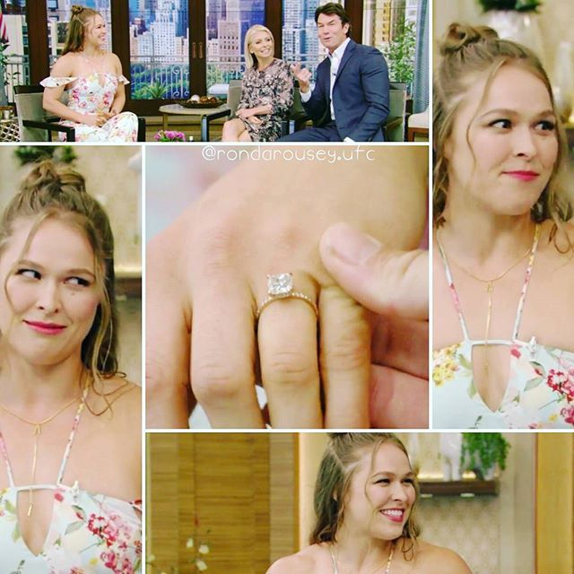 If Ronda is happy with her engagement, who am I to tell whether Travis is good or not to her. 😊😊 #rondarousey #rowdyrondarousey #rowdy #ronda #rousey #interview #engagement #livewithkellyandryan #diamondring #happy #love #instalove #couplegoals