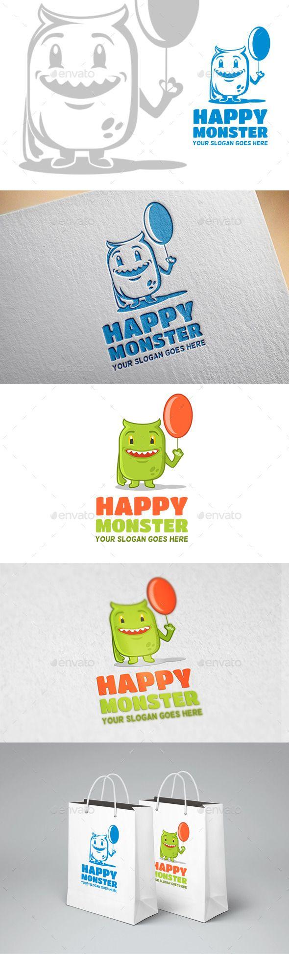 Happy Monster Logo — Vector EPS #monsters #playful • Download here → https://graphicriver.net/item/happy-monster-logo/11955664?ref=pxcr
