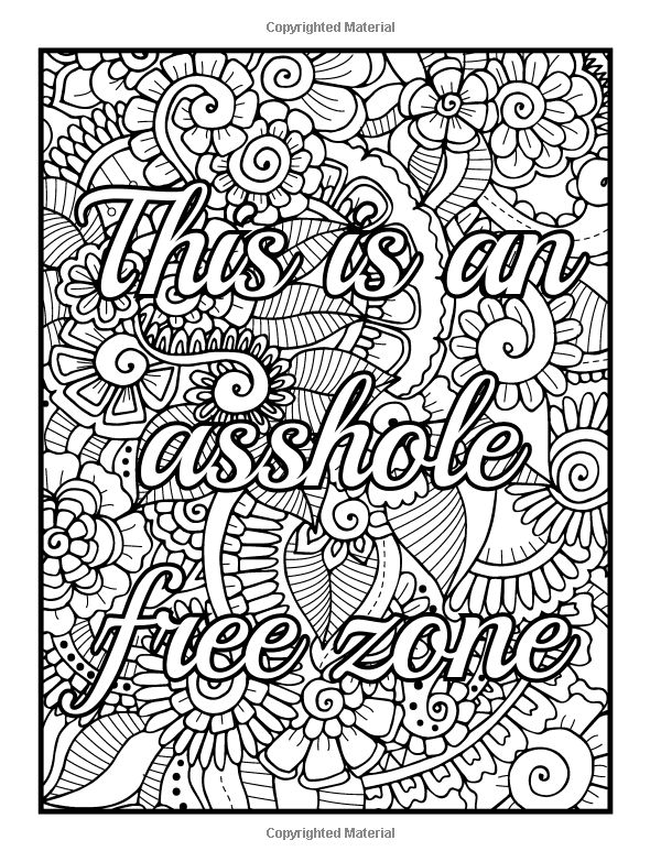 Colouring Pages For Adults With Quotes : Amazon be f cking awesome and color an adult