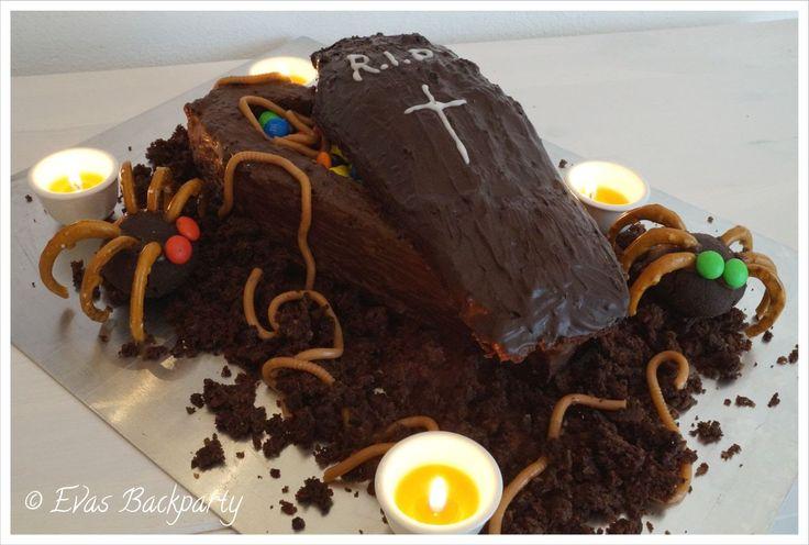 schokoladiger Halloween - Sarg ( Schokoladen - Nuss - Kuchen mit Überras...