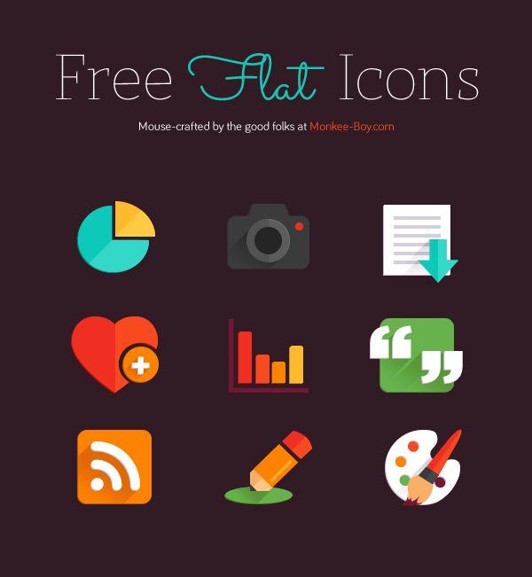 Free flat icon set of 9 web icons. #web #design