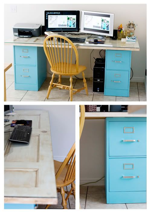 Homemade file cabinet desk, the top is old door..I made this for myself before i saw it on here! Mine is a brown natural wood tho with files i painted with leftover metal paint. I also put the whole in the back to let wires through....