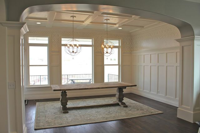 Coffered ceilings board and batten walls heavily trimmed for Dining room molding ideas