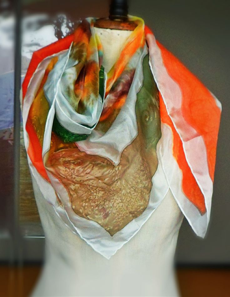 Handmade painted silk scarf