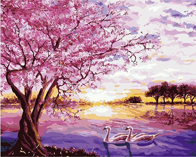 Amazon Com Morgofun Diy Painting Paint By Numbers Kits Paint By Numbers For Adults Romanti Wall Art Pictures Cherry Blossom Painting Wall Art Canvas Painting