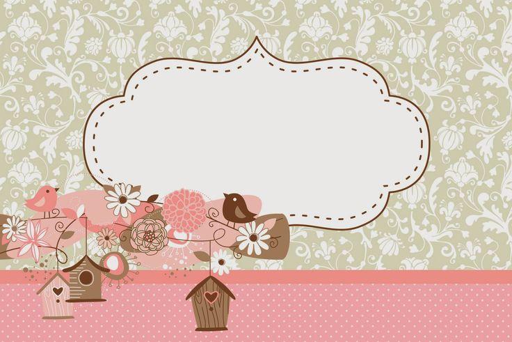 Passarinhos e Flores - Kit Completo com molduras para convites, rótulos para…